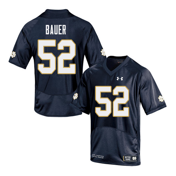 Men #52 Bo Bauer Notre Dame Fighting Irish College Football Jerseys Sale-Navy