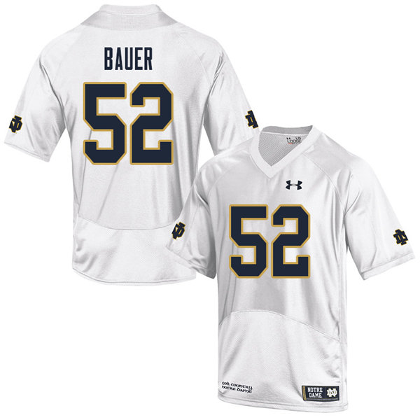 Men #52 Bo Bauer Notre Dame Fighting Irish College Football Jerseys Sale-White