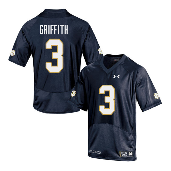 Men #3 Houston Griffith Notre Dame Fighting Irish College Football Jerseys Sale-Navy