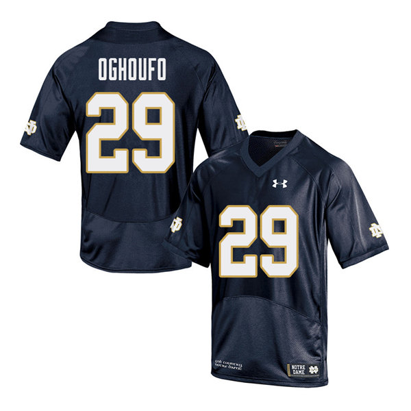 Men #29 Ovie Oghoufo Notre Dame Fighting Irish College Football Jerseys Sale-Navy