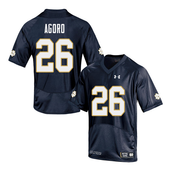 Men #26 Temitope Agoro Notre Dame Fighting Irish College Football Jerseys Sale-Navy