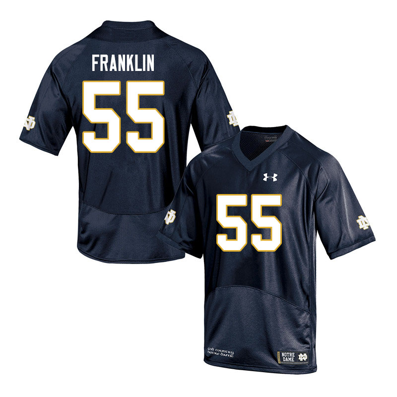 Men #55 Jamion Franklin Notre Dame Fighting Irish College Football Jerseys Sale-Navy