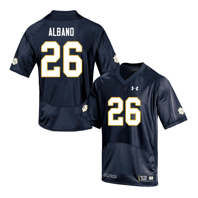 Men #26 Leo Albano Notre Dame Fighting Irish College Football Jerseys Sale-Navy