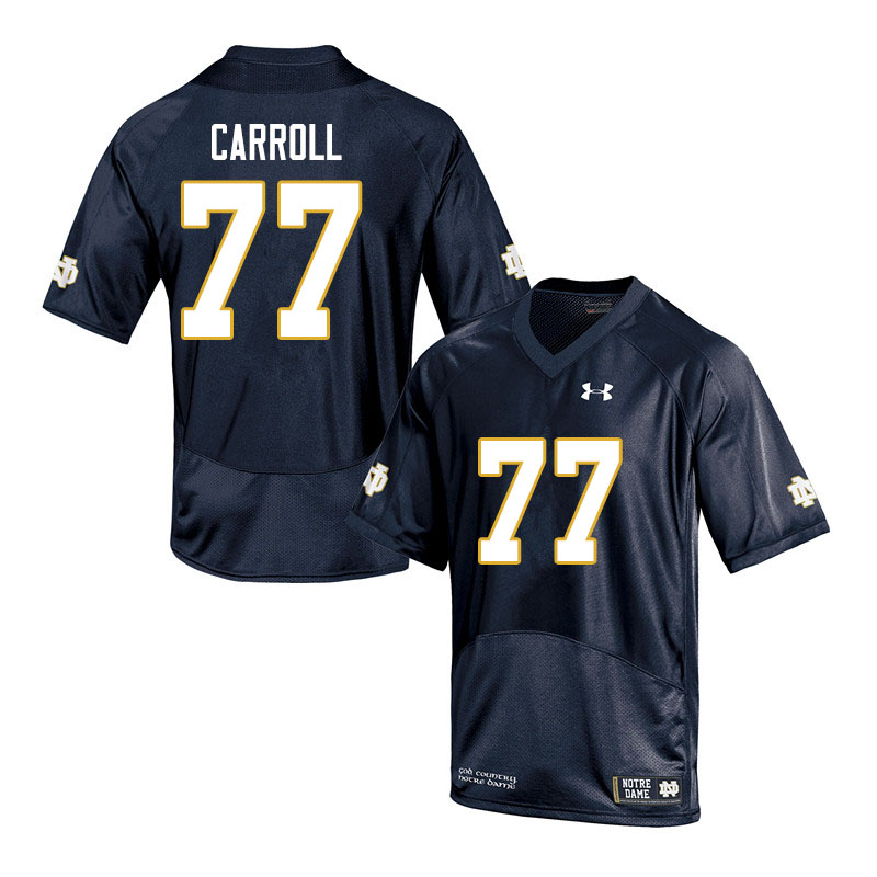 Men #77 Quinn Carroll Notre Dame Fighting Irish College Football Jerseys Sale-Navy