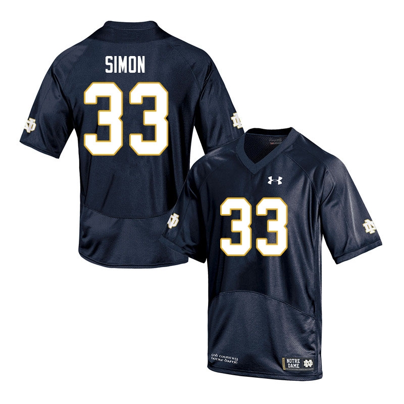 Men #33 Shayne Simon Notre Dame Fighting Irish College Football Jerseys Sale-Navy