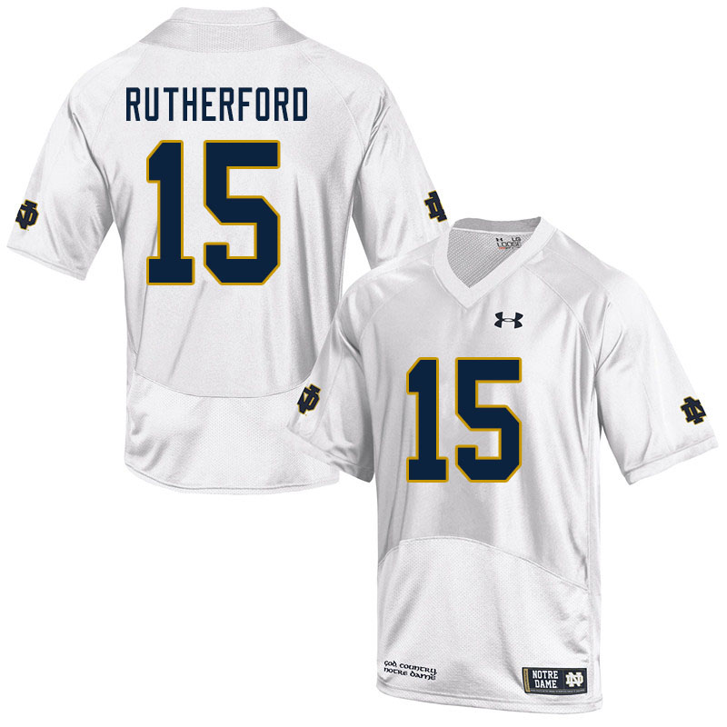 Men #15 Isaiah Rutherford Notre Dame Fighting Irish College Football Jerseys Sale-White