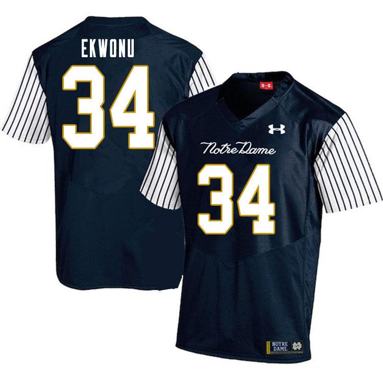 Men #34 Osita Ekwonu Notre Dame Fighting Irish College Football Jerseys Sale-Alternate