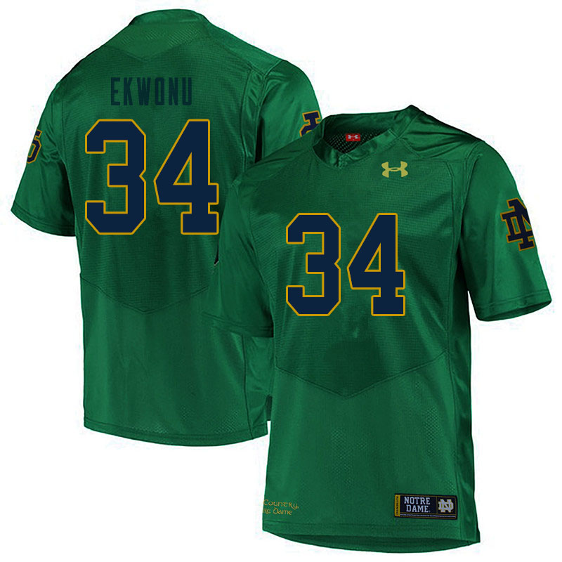 Men #34 Osita Ekwonu Notre Dame Fighting Irish College Football Jerseys Sale-Green