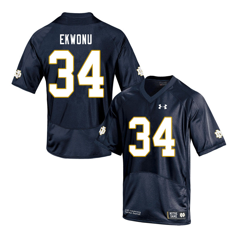 Men #34 Osita Ekwonu Notre Dame Fighting Irish College Football Jerseys Sale-Navy