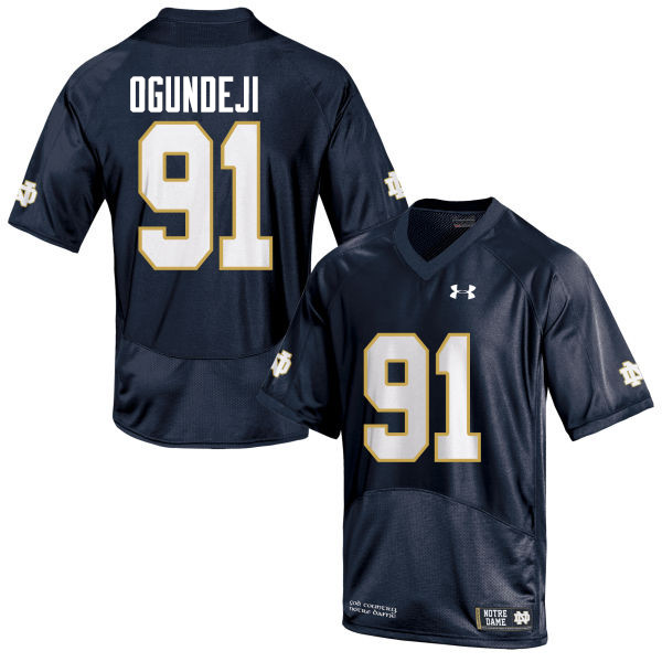 Men #91 Adetokunbo Ogundeji Notre Dame Fighting Irish College Football Jerseys-Navy Blue