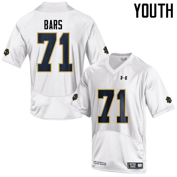 Youth #71 Alex Bars Notre Dame Fighting Irish College Football Jerseys-White