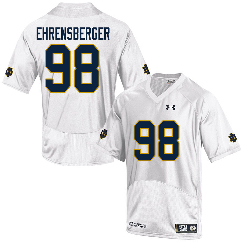 Men #98 Alexander Ehrensberger Notre Dame Fighting Irish College Football Jerseys Sale-White