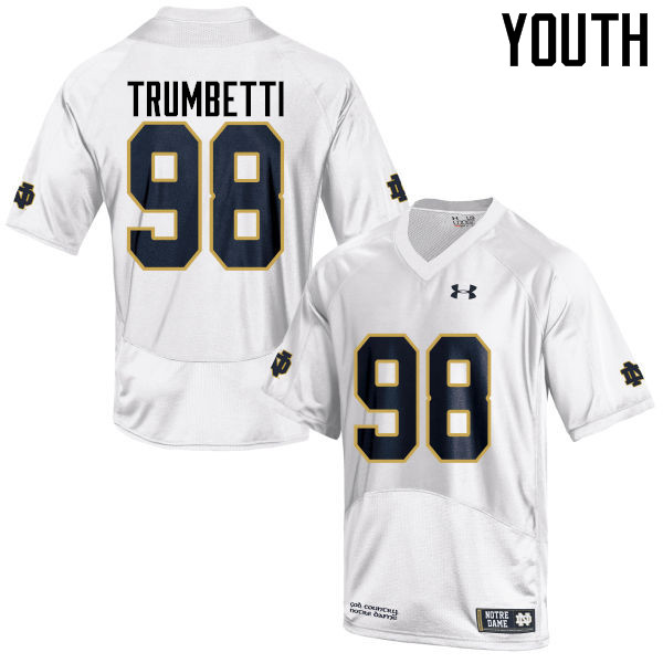 Youth #98 Andrew Trumbetti Notre Dame Fighting Irish College Football Jerseys-White