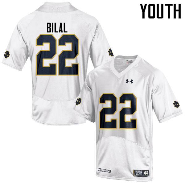 Youth #22 Asmar Bilal Notre Dame Fighting Irish College Football Jerseys-White