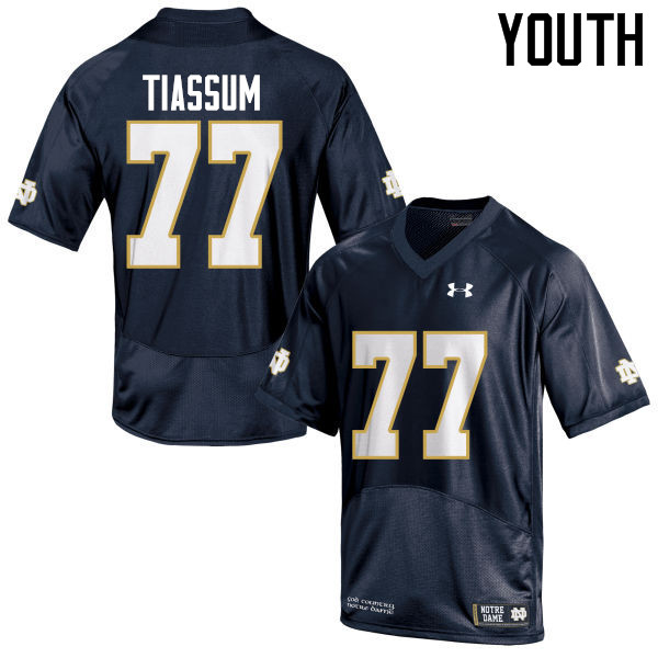 Youth #77 Brandon Tiassum Notre Dame Fighting Irish College Football Jerseys-Navy Blue