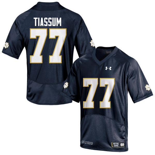 Men #77 Brandon Tiassum Notre Dame Fighting Irish College Football Jerseys-Navy Blue