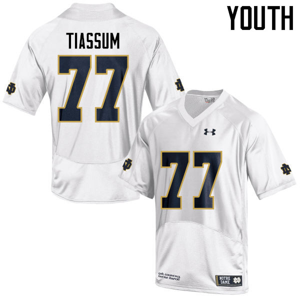 Youth #77 Brandon Tiassum Notre Dame Fighting Irish College Football Jerseys-White