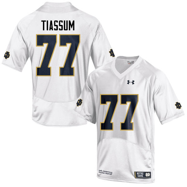 Men #77 Brandon Tiassum Notre Dame Fighting Irish College Football Jerseys-White