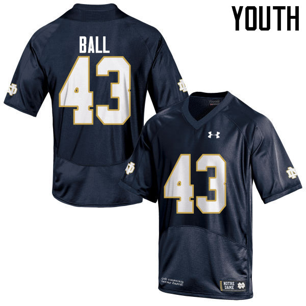 Youth #43 Brian Ball Notre Dame Fighting Irish College Football Jerseys-Navy Blue