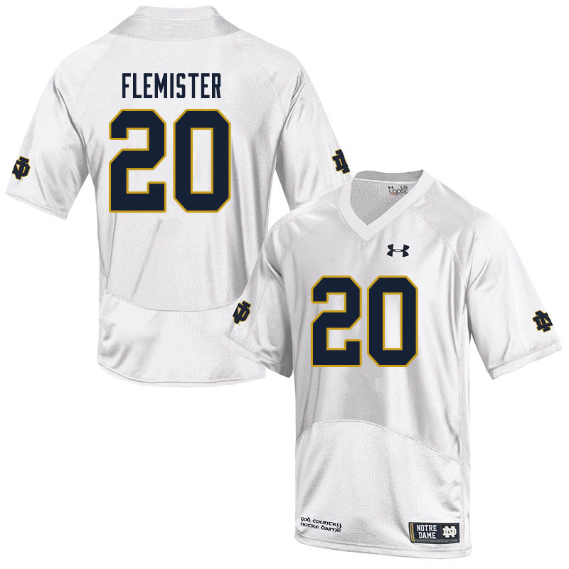 Men #20 C'Borius Flemister Notre Dame Fighting Irish College Football Jerseys Sale-White