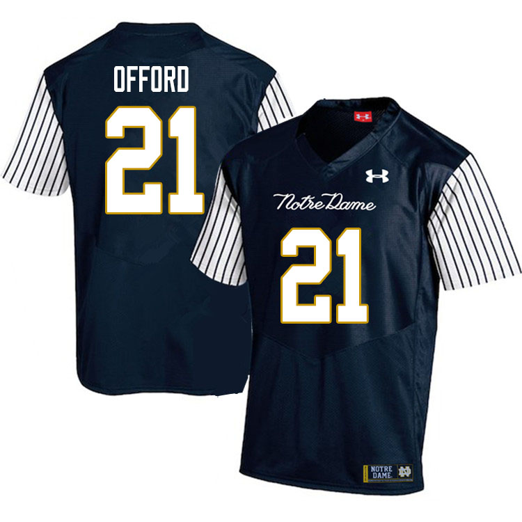 Men #21 Caleb Offord Notre Dame Fighting Irish College Football Jerseys Sale-Alternate