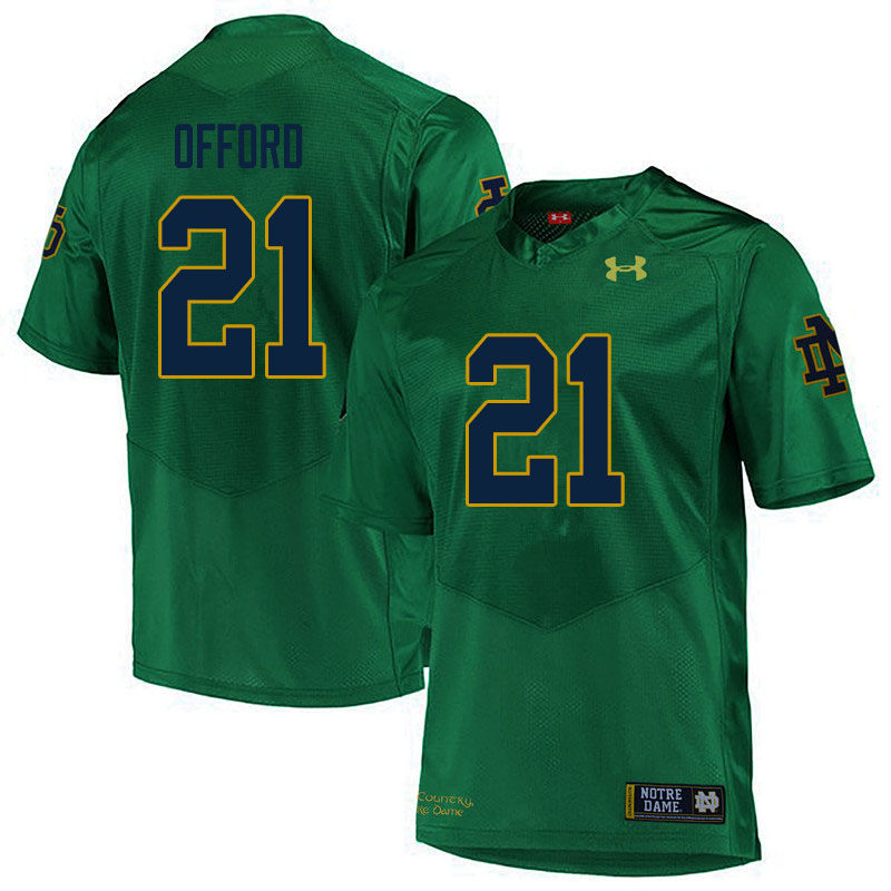 Men #21 Caleb Offord Notre Dame Fighting Irish College Football Jerseys Sale-Green