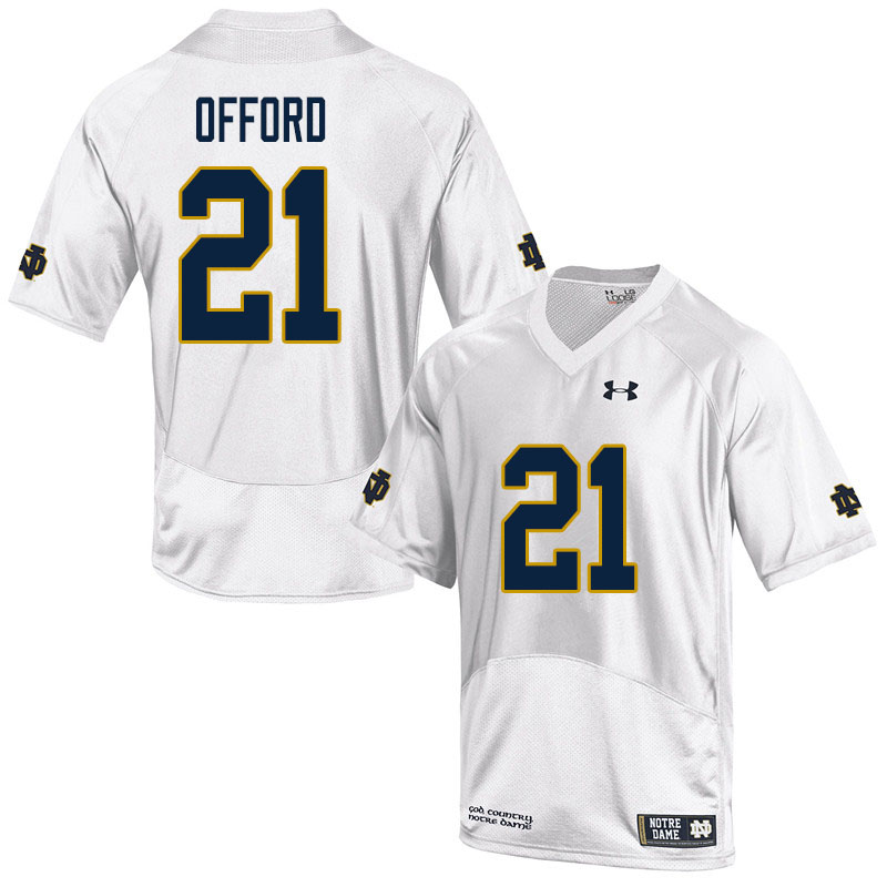 Men #21 Caleb Offord Notre Dame Fighting Irish College Football Jerseys Sale-White