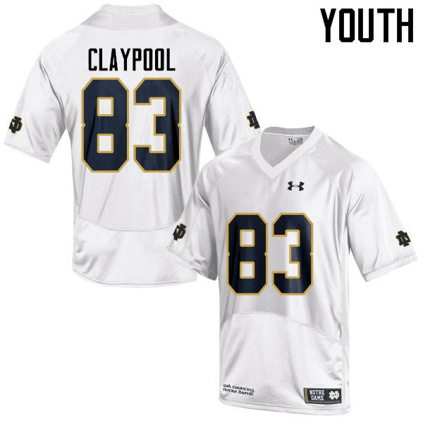 Youth #83 Chase Claypool Notre Dame Fighting Irish College Football Jerseys-White