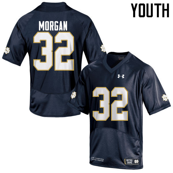 Youth #32 D.J. Morgan Notre Dame Fighting Irish College Football Jerseys-Navy Blue