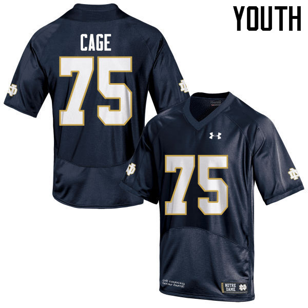 Youth #75 Daniel Cage Notre Dame Fighting Irish College Football Jerseys-Navy Blue