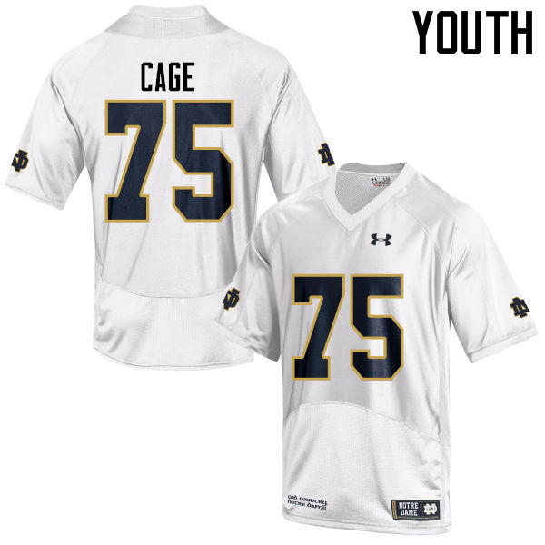 Youth #75 Daniel Cage Notre Dame Fighting Irish College Football Jerseys-White