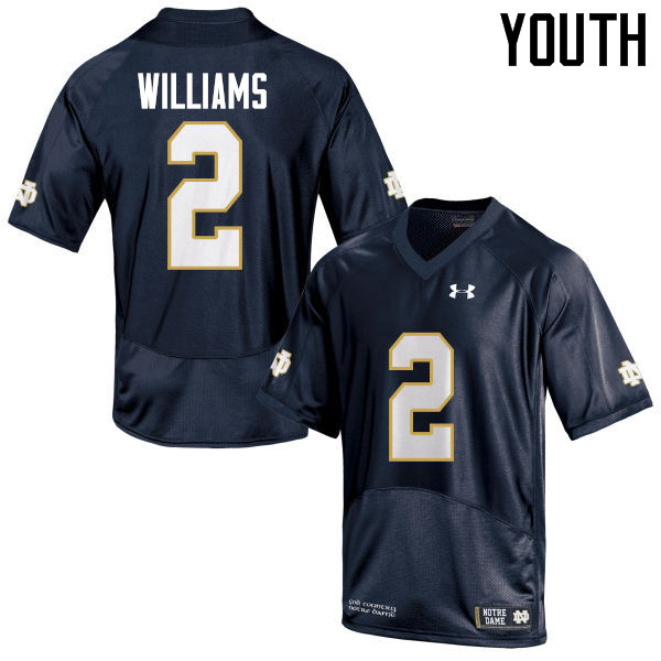 Youth #2 Dexter Williams Notre Dame Fighting Irish College Football Jerseys-Navy Blue