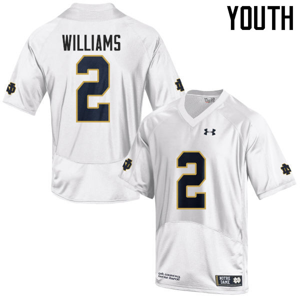 Youth #2 Dexter Williams Notre Dame Fighting Irish College Football Jerseys-White