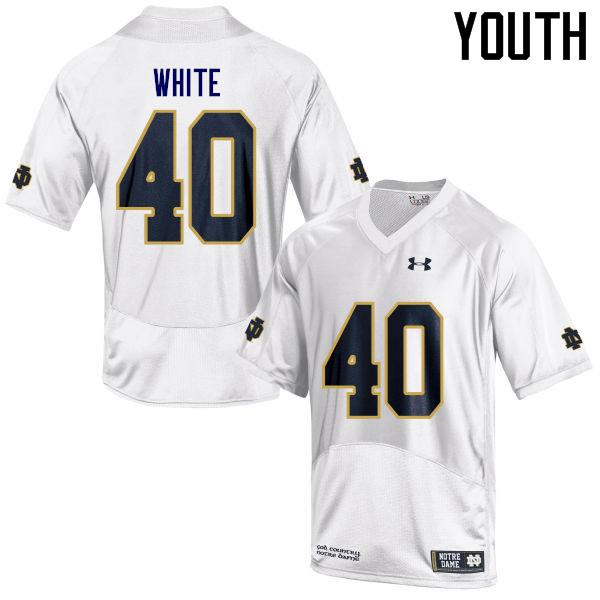Youth #40 Drew White Notre Dame Fighting Irish College Football Jerseys Sale-White