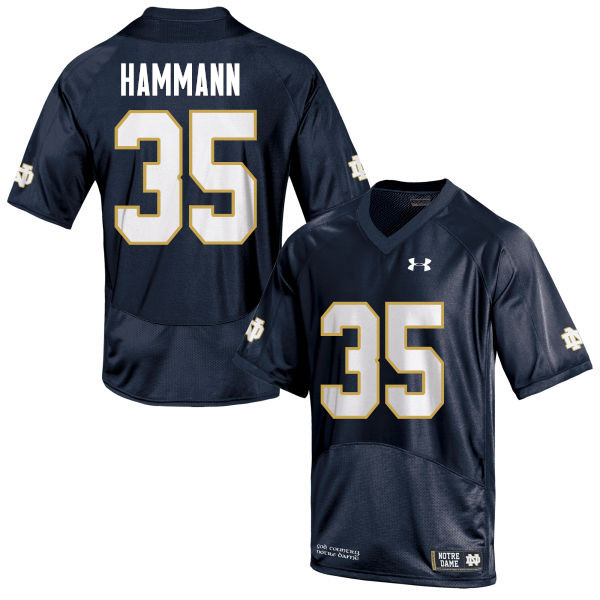 Men #35 Grant Hammann Notre Dame Fighting Irish College Football Jerseys-Navy Blue