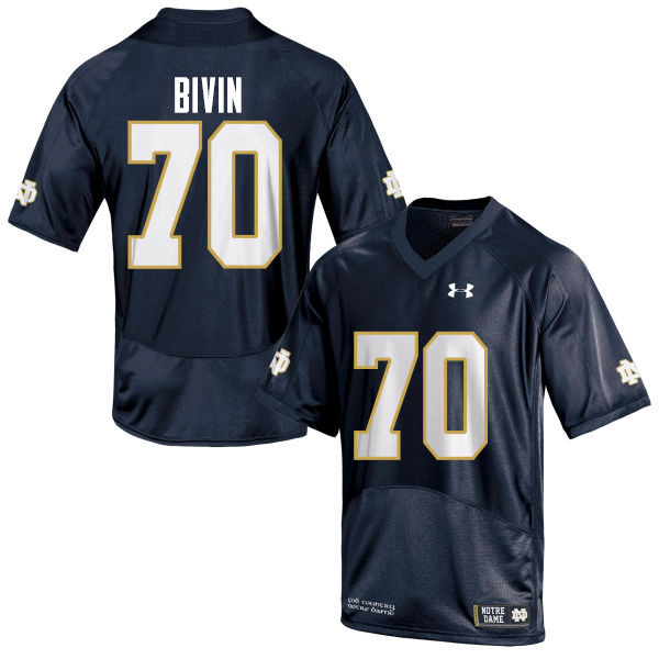 Men #70 Hunter Bivin Notre Dame Fighting Irish College Football Jerseys-Navy Blue