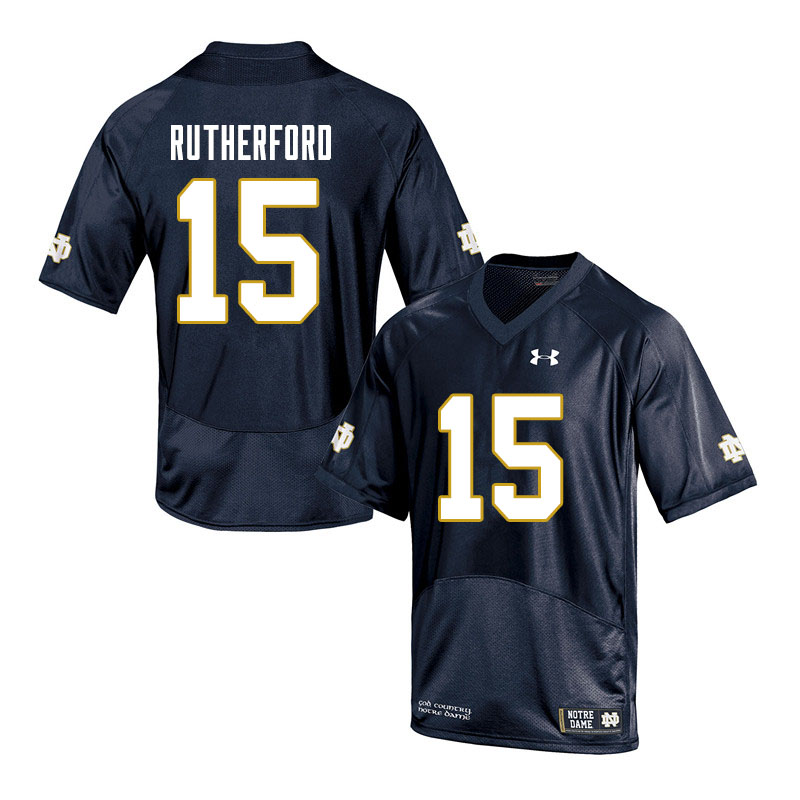 Men #15 Isaiah Rutherford Notre Dame Fighting Irish College Football Jerseys Sale-Navy