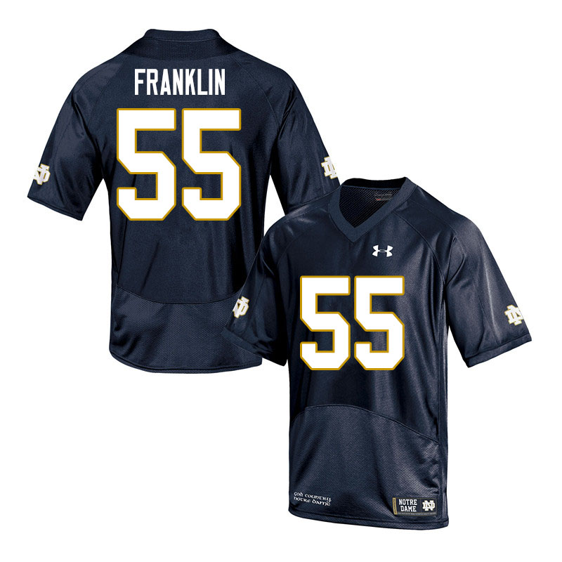 Men #55 Ja'Mion Franklin Notre Dame Fighting Irish College Football Jerseys Sale-Navy