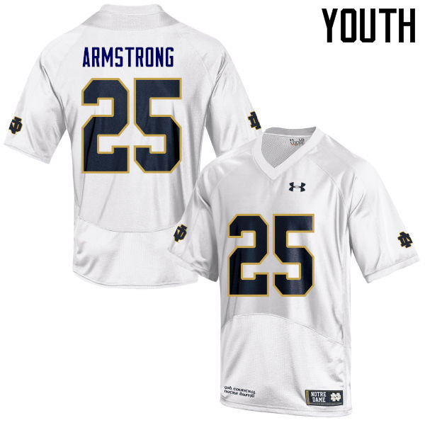 Youth #25 Jafar Armstrong Notre Dame Fighting Irish College Football Jerseys Sale-White