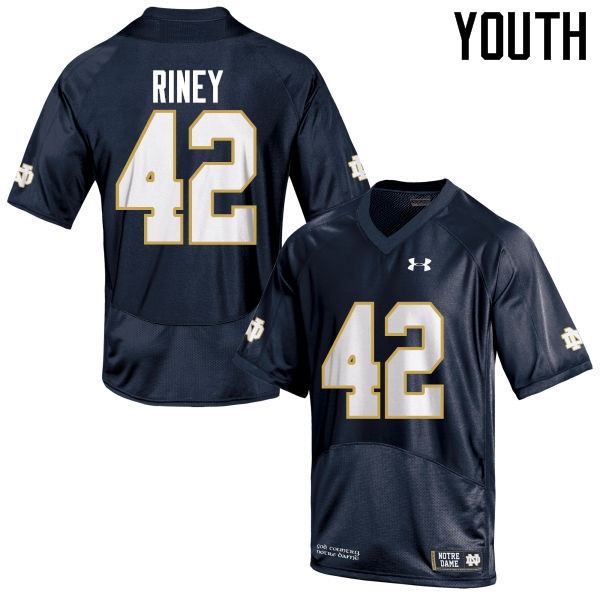 Youth #42 Jeff Riney Notre Dame Fighting Irish College Football Jerseys-Navy Blue