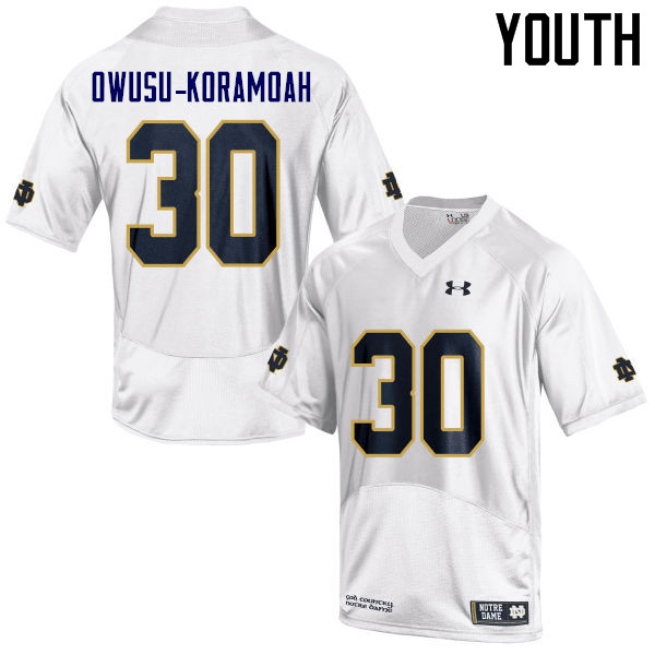 Youth #30 Jeremiah Owusu-Koramoah Notre Dame Fighting Irish College Football Jerseys Sale-White