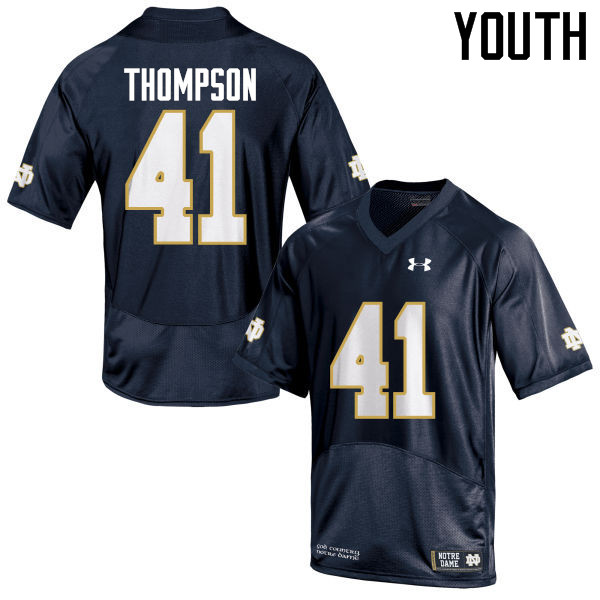 Youth #41 Jimmy Thompson Notre Dame Fighting Irish College Football Jerseys-Navy Blue