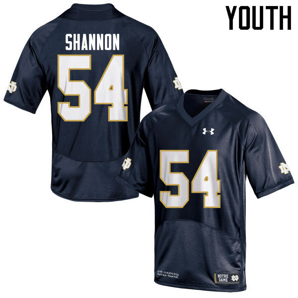 Youth #54 John Shannon Notre Dame Fighting Irish College Football Jerseys-Navy Blue