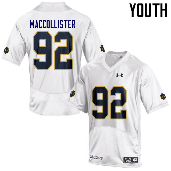 Youth #92 Jonathon MacCollister Notre Dame Fighting Irish College Football Jerseys Sale-White