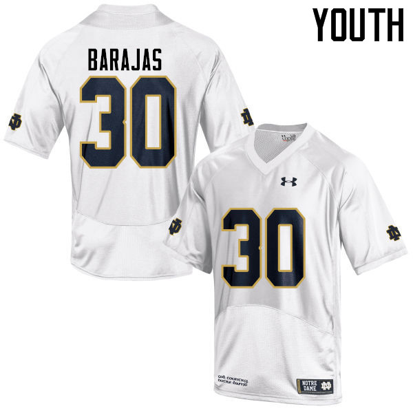 Youth #30 Josh Barajas Notre Dame Fighting Irish College Football Jerseys-White