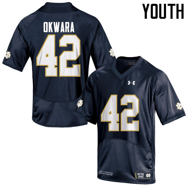 Youth #42 Julian Okwara Notre Dame Fighting Irish College Football Jerseys-Navy Blue