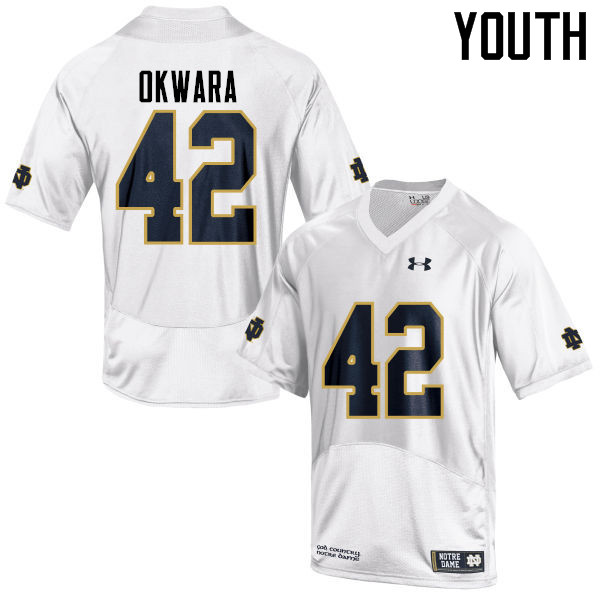 Youth #42 Julian Okwara Notre Dame Fighting Irish College Football Jerseys-White