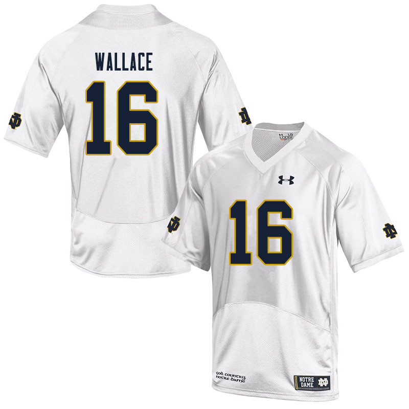 Men #16 KJ Wallace Notre Dame Fighting Irish College Football Jerseys Sale-White