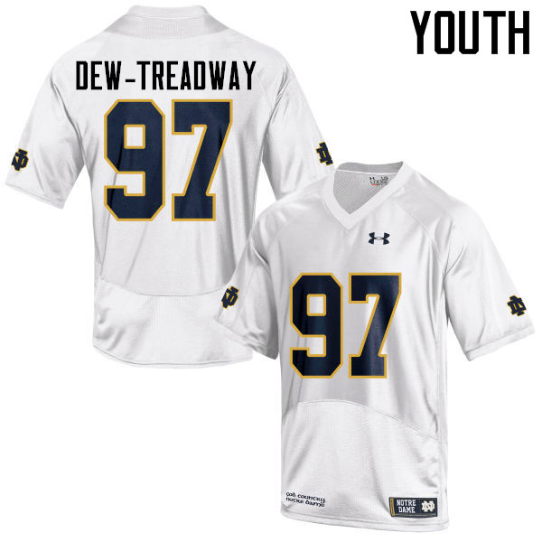 Youth #97 Micah Dew-Treadway Notre Dame Fighting Irish College Football Jerseys-White