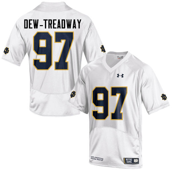 Men #97 Micah Dew-Treadway Notre Dame Fighting Irish College Football Jerseys-White